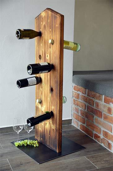 Weinflaschenständer, Fichte massiv, geflämmt